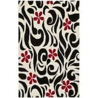 Safavieh Handmade Soho Floral Ivory New Zealand Wool Rug - 7'6 x 9'6