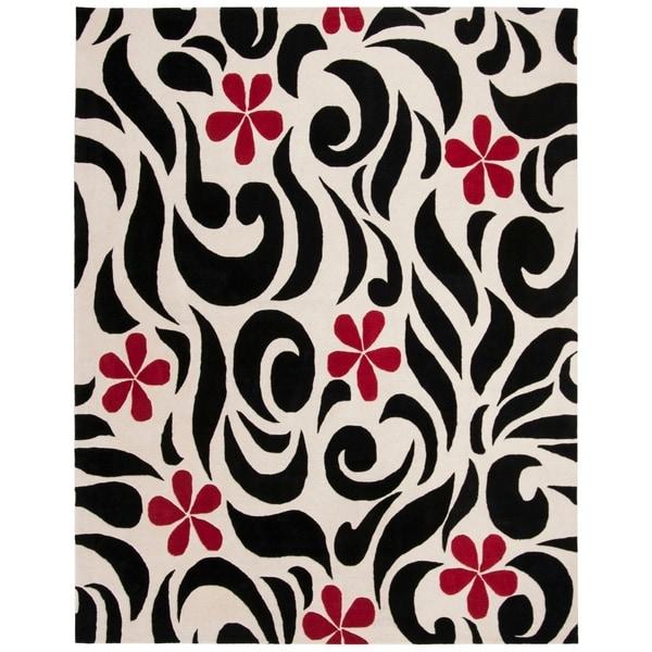 "Safavieh Handmade Soho Floral Ivory New Zealand Wool Rug - 7'-6"" x 9'-6"""