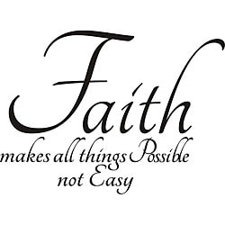 "Design on Style Decorative 'Faith Makes All Things Possible Not Easy"" Vinyl Wall Art Quote"