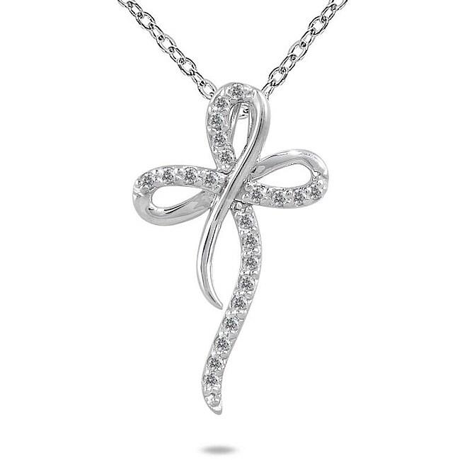 Marquee Jewels 10k White Gold 1/4ct TDW Diamond Cross Pendant