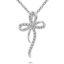 Marquee Jewels 10k White Gold 1/4ct TDW Diamond Cross Pendant (H-I, I1-I2)