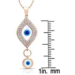 Victoria Kay 14k Rose Gold 1/3ct TDW Diamond Evil Eye Necklace - Thumbnail 2