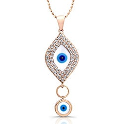 Victoria Kay 14k Rose Gold 1/3ct TDW Diamond Evil Eye Necklace