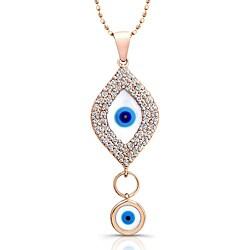 Victoria Kay 14k Rose Gold 1/3ct TDW Diamond Evil Eye Necklace