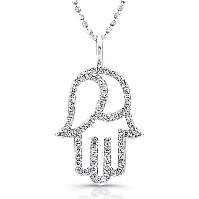 14k White Gold 1/3ct TDW Round-set Diamond Hamsa Necklace