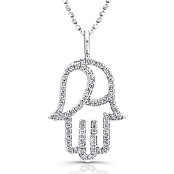 14k White Gold 1/3ct TDW Round-set Diamond Hamsa Necklace (I-J, I2-I3)