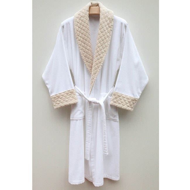 Ultra Plush Authentic Hotel and Spa Unisex Beige Velvet Trim Bath Robe - Thumbnail 0