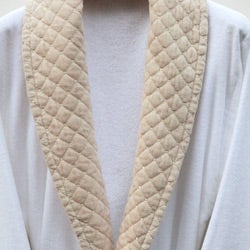 Ultra Plush Authentic Hotel and Spa Unisex Beige Velvet Trim Bath Robe - Thumbnail 2