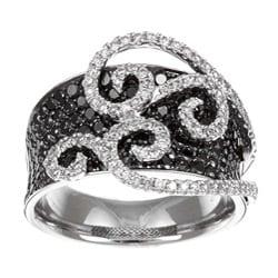 Victoria Kay 14k White Gold 3 2/5ct TDW Black and White Swirl Diamond Ring (H, SI1)