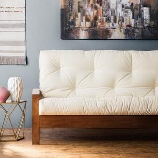 clay alder home hansen full size 10 inch futon mattress dhp bergen wood arm futon with 6 inch coil linen mattress   free      rh   overstock