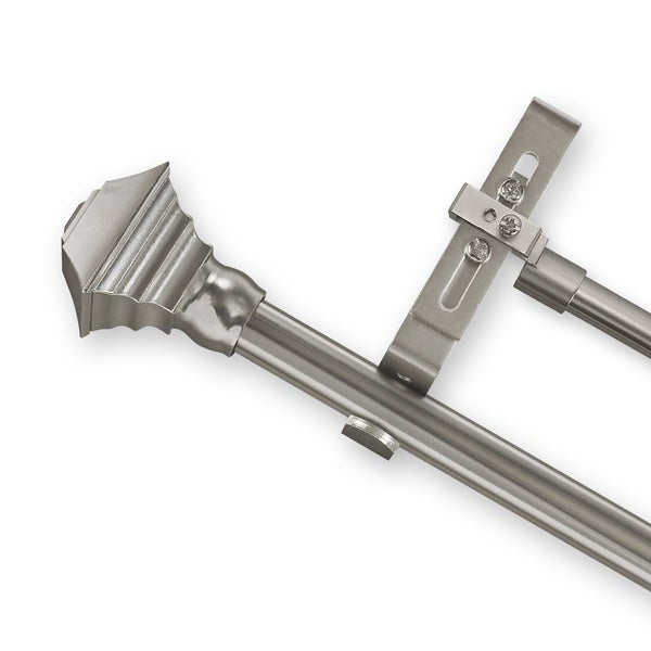 Adjustable Double Curtain Rod Set with Pewter Square Finial