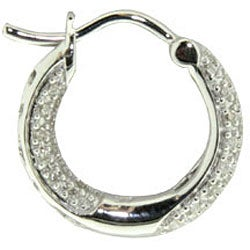 14k White Gold 1/3ct TDW Diamond Hoop Earrings