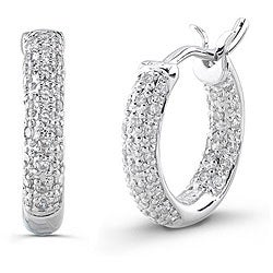 14k White Gold 1/3ct TDW Diamond Hoop Earrings (I-J, I2)