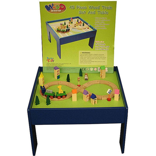 Wood World 45-piece Wooden Toy Train Set with Multipurpose Table