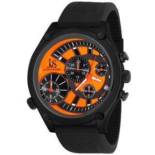 Black Joshua & Sons Men's Dual Time Quartz Chronograph Steel Strap Watch