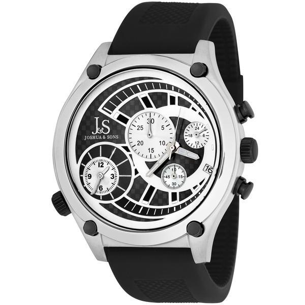 Joshua & Sons Men's Dual Time Quartz Chronograph Steel Silver-Tone Strap Watch