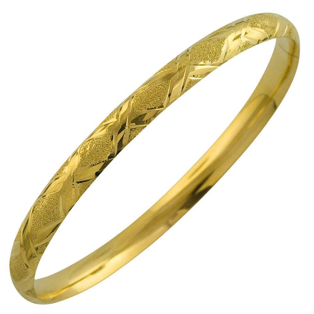 Fremada 10k Yellow Gold Laser Polish 'X' Design Bangle
