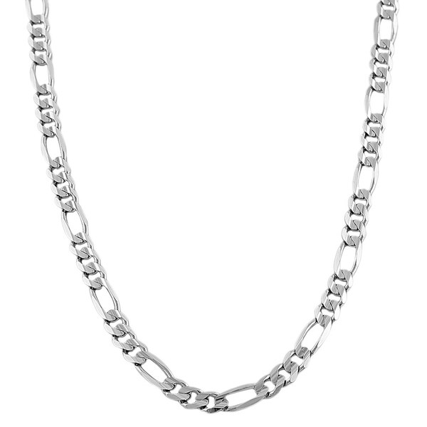 Fremada 14k White Gold Solid 5 millimeters Classic Figaro Link Necklace (18-inch)