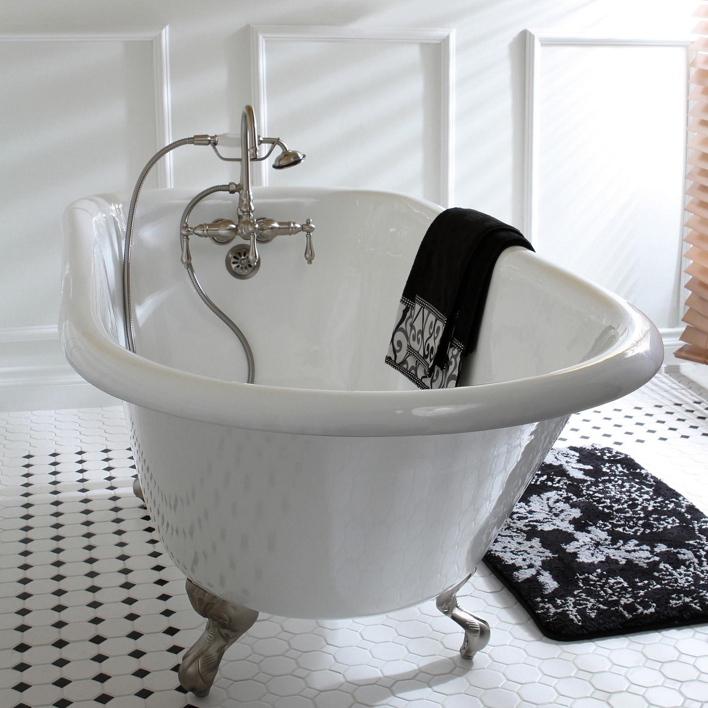Shop Black Friday Deals On Americana Wallmount Satin Nickel Clawfoot Tub Faucet Overstock 5408666 Metal Handles