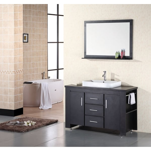 shop design element washington 48 inch modern bathroom vanity set rh overstock com White Modern Bathroom Vanities Modern Bathroom Vanity 48 Inch High Gloss