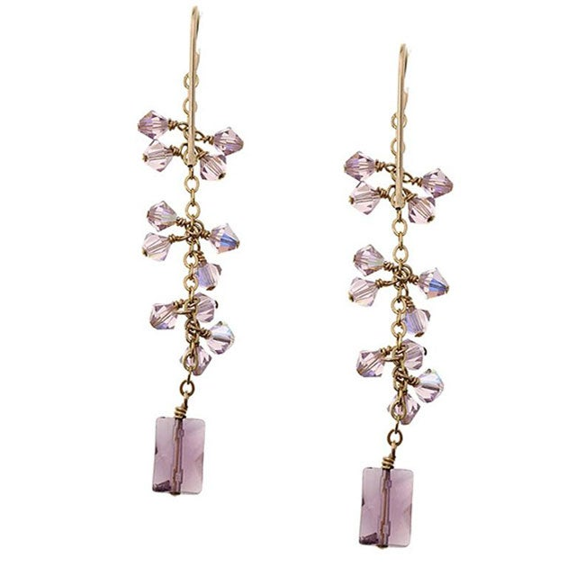 Misha Curtis Goldfill 14k Amethyst and Crystal Drop Earrings