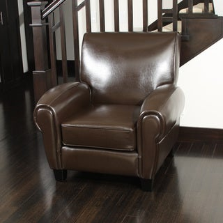 Finley Brown Bonded Leather Club Chair by Christopher Knight Home