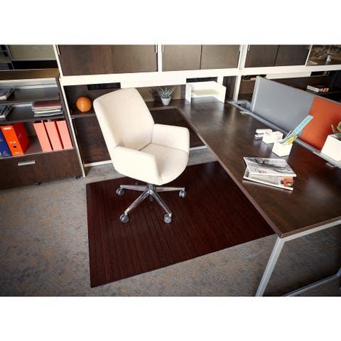 Eco Bamboo Standard Rectangular Cherry Chair Mat (72 x 48)