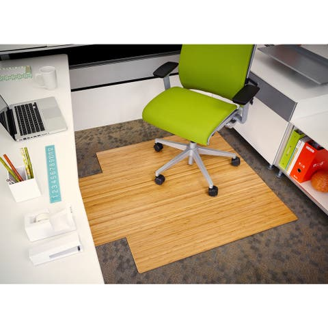 Eco Bamboo Standard Natural Chair Mat with lip (44 x 52)