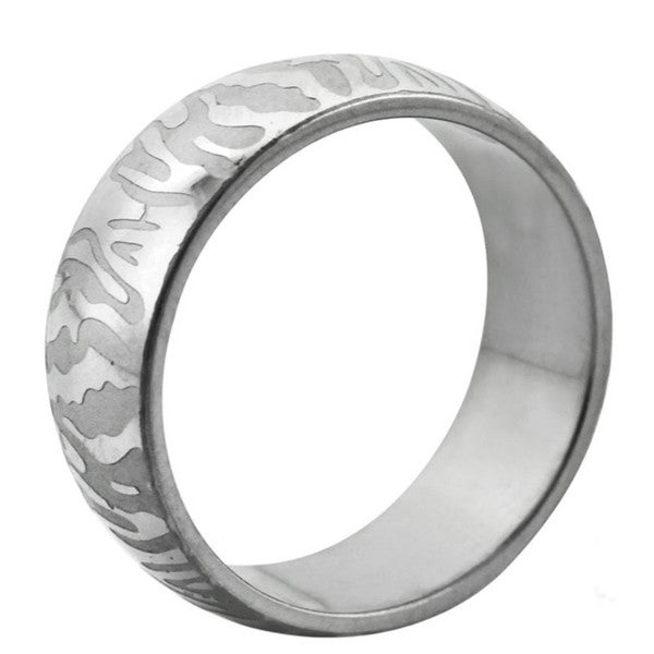 Stainless Steel Etched Tiger Stripe Ring
