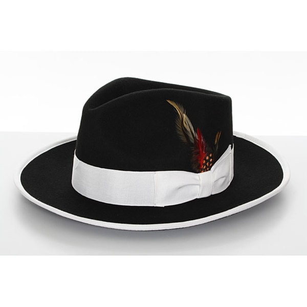 1e9c8808b73 Shop Men's Black Wool Felt Feather Fedora - Free Shipping On Orders Over  $45 - Overstock - 5412272