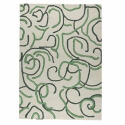 M.A.Trading Hand-tufted Busy Green Abstract Wool Rug (5'6 x 7'10)