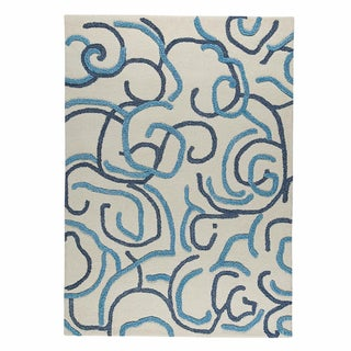 M.A.Trading Hand-tufted Busy Blue Abstract Wool Rug (5'6 x 7'10)