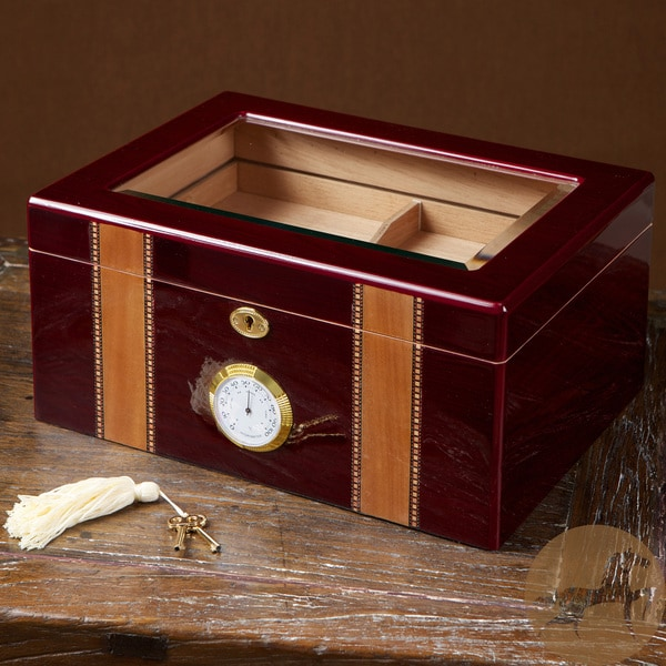 Cherry Wood Glass Top Humidor by Christopher Knight Home