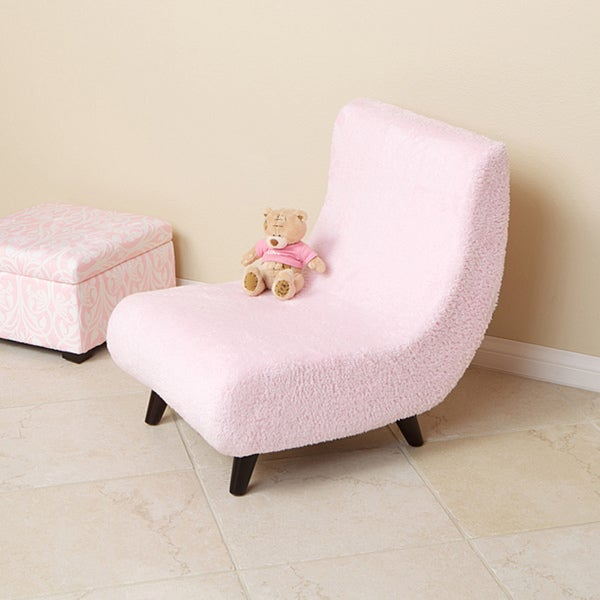 Nice Pink Soft Fabric Kids Lounge Chair