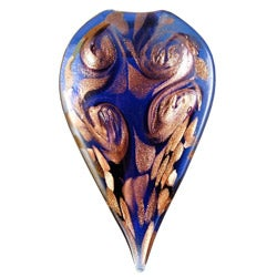 Murano Inspired Glass Blue and Gold Pointed Leaf Pendant