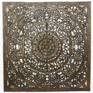 Recycled Teak Wood Black Stain Natural Wax 3D Lotus Panel  , Handmade in Thailand