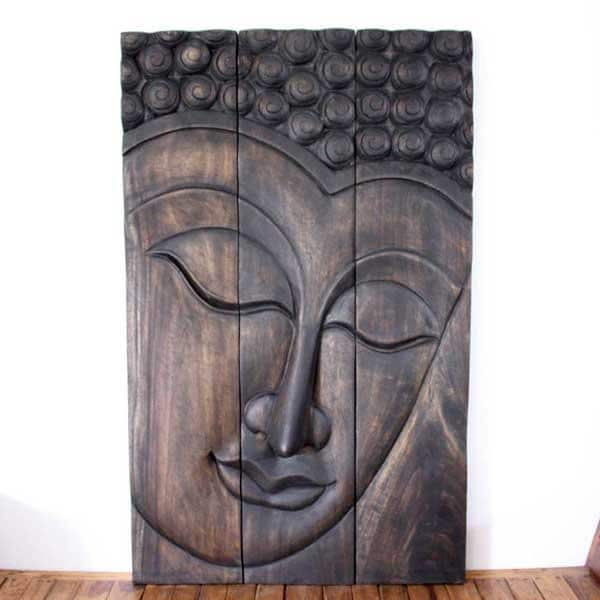 Monkey Pod Wood Mocha Oil Serene Buddha Panel (Thailand)