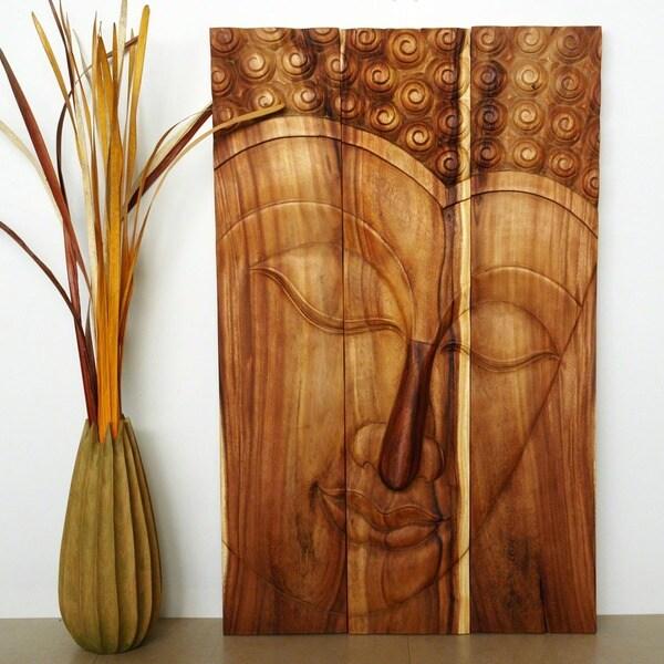 Monkey Pod Wood Tung Oil Serene Buddha Panel (Thailand)