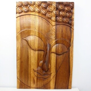 Handmade Monkey Pod Wood Walnut Oil Ushnisha Buddha Panel (Thailand)
