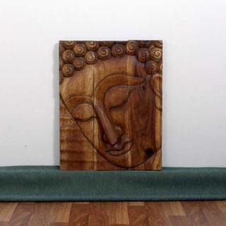Handmade Monkey Pod Wood 24x36-inch Walnut Oil Pacceka Buddha Panel (Thailand)