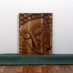 Monkey Pod Wood 20x30-inch Walnut Oil Pacceka Buddha Panel (Thailand)