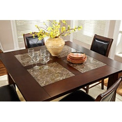 Taranto Warm Walnut Granite Inlay 9-piece Dining Set - Thumbnail 2