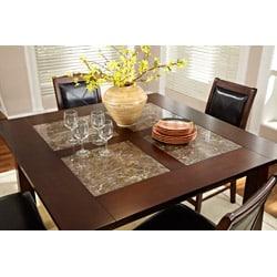 Taranto Warm Walnut Granite Inlay 7-piece Dining Set