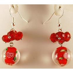 Murano Inspired Glass Marble and Red Crystal Cluster Jewelry Set - Thumbnail 1