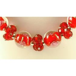 Murano Inspired Glass Marble and Red Crystal Cluster Jewelry Set - Thumbnail 2