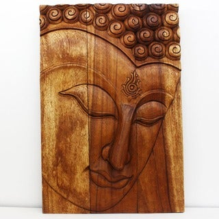 Handmade Monkey Pod Wood 20x30-inch Walnut Oil Ushnisha Buddha Panel (Thailand)