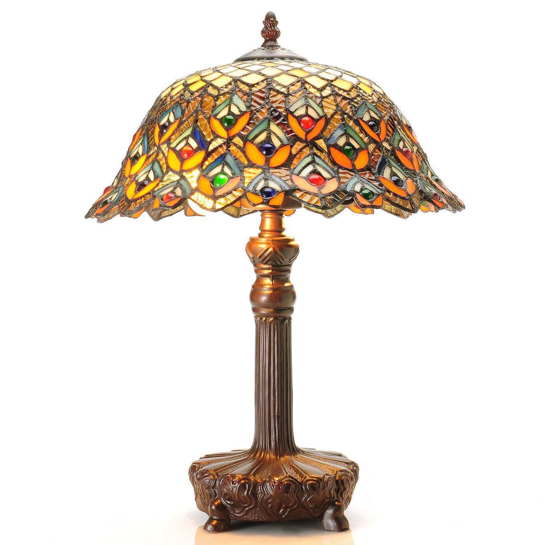 China Tiffany-style Peacock Jewel Table Lamp, Tan (Bronze)