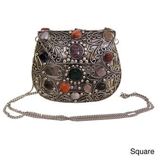 Handcrafted Multi-color Natural Agate Inlaid Handbag (India)