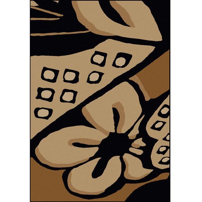 Admire Home Living Amalfi 'Flower' Black Floral Rug (7'9 x 11')