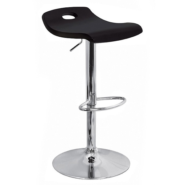 Shop Black Curved Wood Hydraulic Barstool Free Shipping